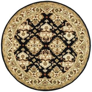 Safavieh Handmade Heritage Timeless Traditional Black/ Ivory Wool Rug (3'6 Round)