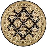 "Safavieh Handmade Heritage Timeless Traditional Black/ Ivory Wool Rug - 3'6"" x 3'6"" round"