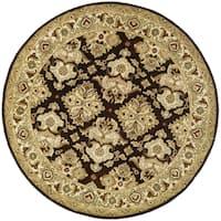"Safavieh Handmade Heritage Timeless Traditional Dark Mocha/ Ivory Wool Rug - 3'6"" x 3'6"" round"