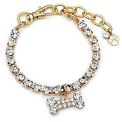 Buddy G's Rhinestone Bone/ Austrian Crystal Dog Collar (X-Small)