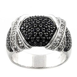 Beverly Hills Charm Silver Black and White Sapphire Ring (SIze 7)