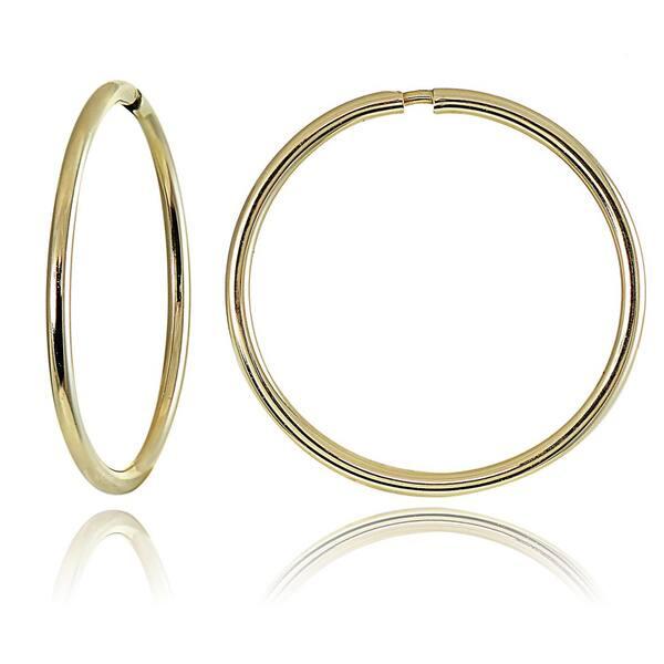 930b86257f119 Shop Mondevio 10k Gold 11mm Endless Hoop Earrings - On Sale - Free ...