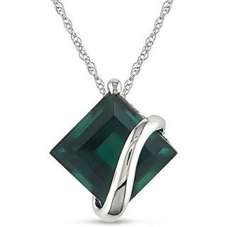 Miadora 10k White Gold Created Emerald Necklace