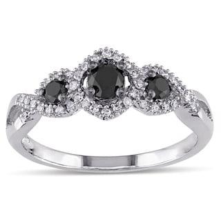 Miadora 1/2 CT Black and White Diamond 3 Stone Ring with 10k White Gold Band