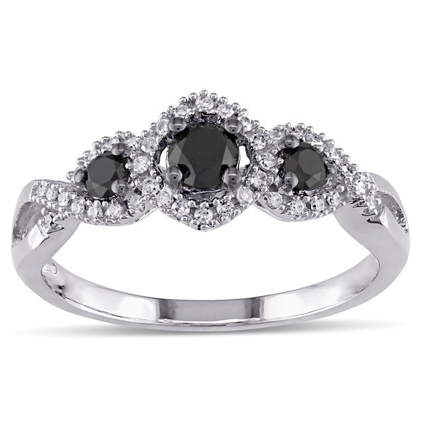 Miadora 1/2 CT Black and White Diamond 3 Stone Ring with 10k White Gold Band