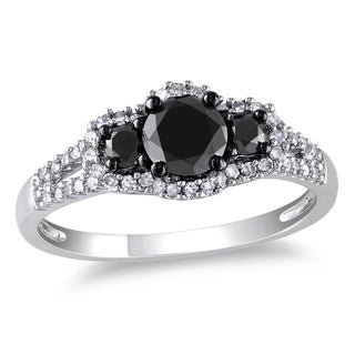 Miadora 10k Gold 1ct TDW Black-and-white Round Diamond Halo Ring