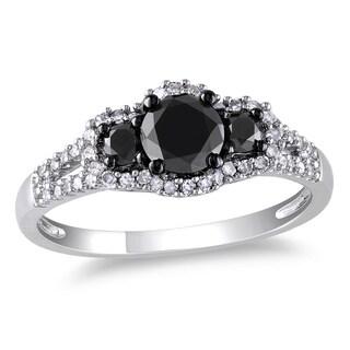 Miadora 10k Gold 1ct TDW Black-and-white Round Diamond Halo Ring