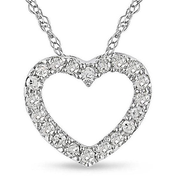 10k White Gold 1/10ct TDW Diamond Heart Necklace