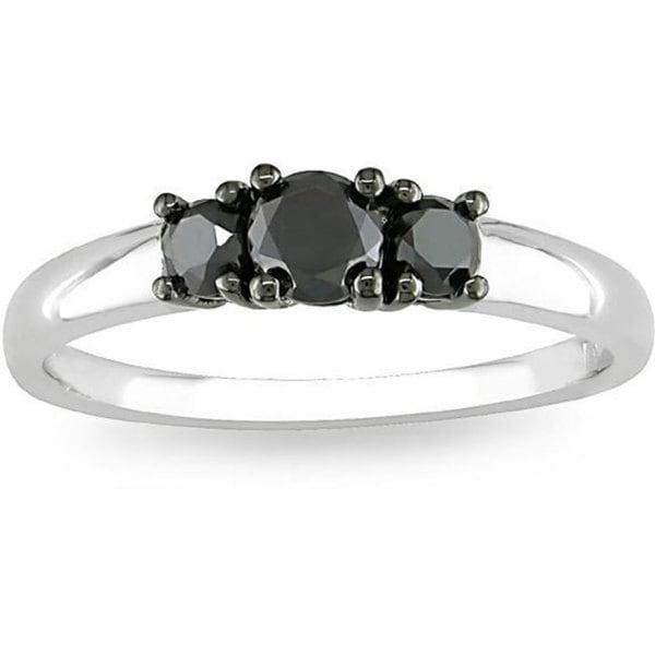 Miadora Sterling Silver 1/2ct TDW Three-Stone Black Diamond Ring