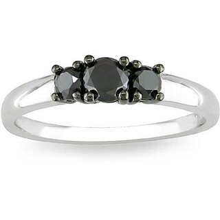 Miadora Sterling Silver 1/2ct TDW Three-Stone Black Diamond Ring