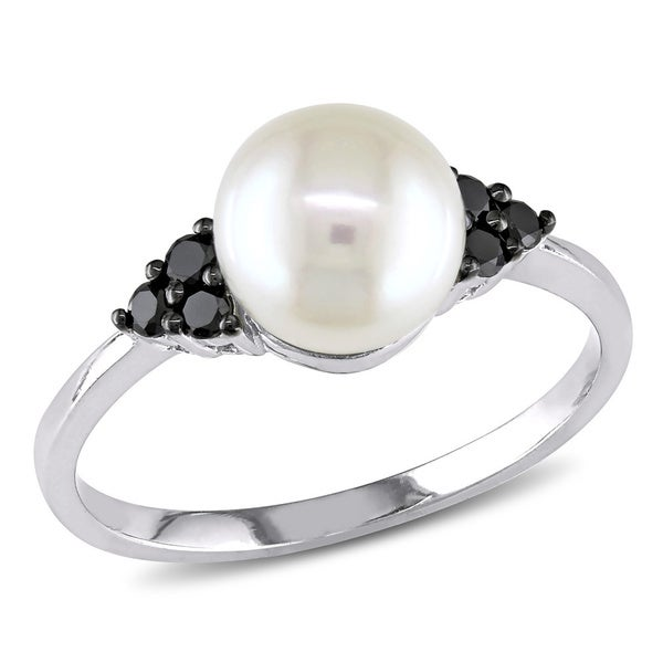 Miadora 10k Gold Cultured Freshwater Pearl and 1/8ct TDW Black Diamond Ring