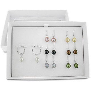 M by Miadora Sterling Silver Multi-color Pearl Earring Set (7-8 mm)