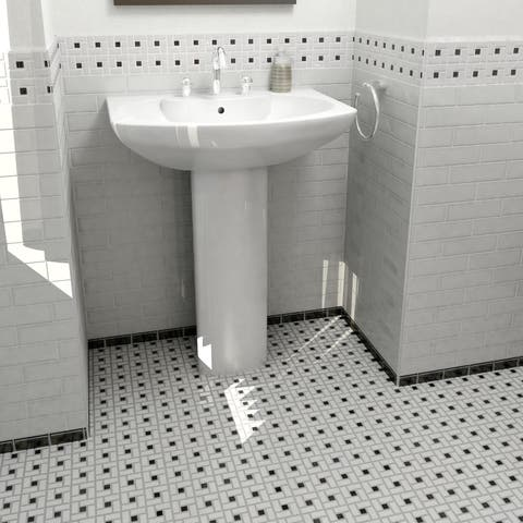 SomerTile 12.5x12.5-inch Spiral Black and White Porcelain Mosaic Floor and Wall Tile (10 tiles/11.07 sqft.)