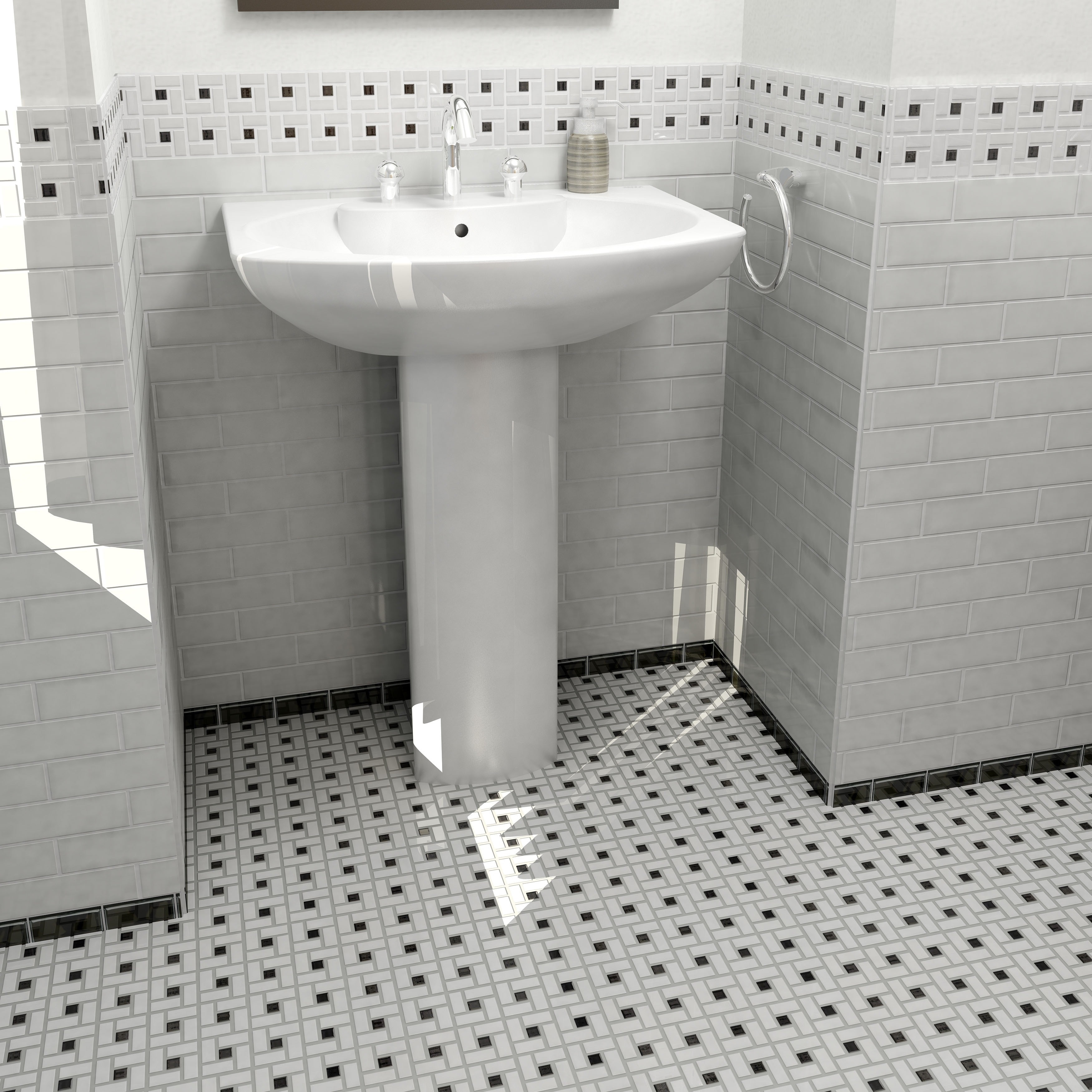 Black And White Bathroom Tile >> Somertile 12 5x12 5 Inch Spiral Black And White Porcelain Mosaic Floor And Wall Tile 10 Tiles 11 07 Sqft