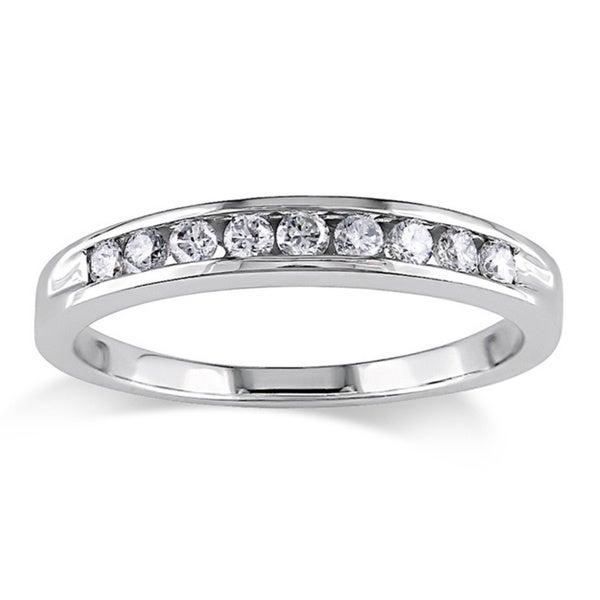 Miadora 14k Gold 1/4ct TDW Round Diamond Wedding Band