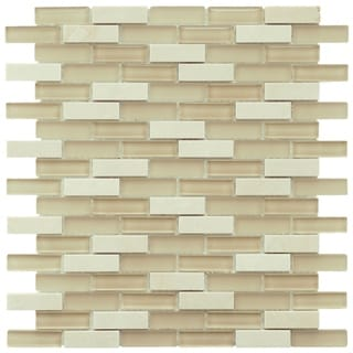 SomerTile 12x12-in Reflections Subway 5/8x2-in Sandstone Glass/Stone Mosaic Tile (Pack of 10)