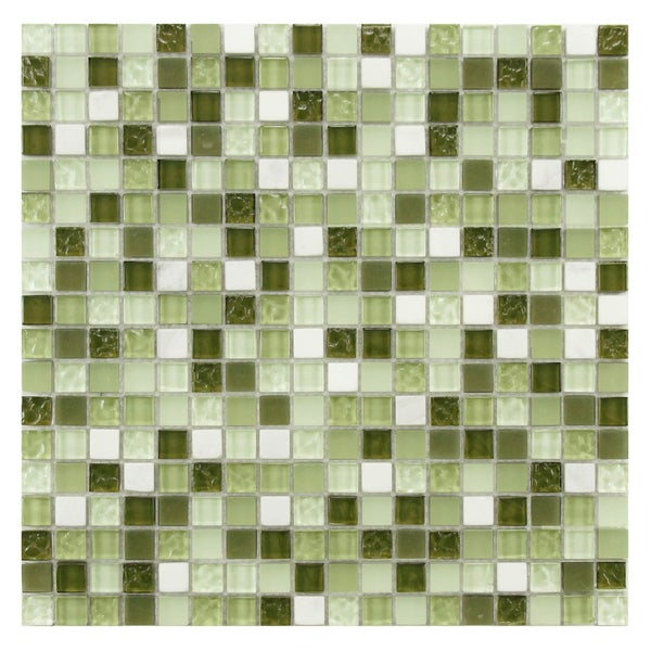 green mosaic tile floor somertile 12x12 in reflections mini 58 in emerald isle glass
