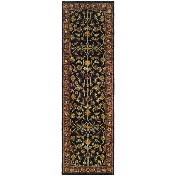 Safavieh Handmade Heritage Timeless Traditional Black/ Red Wool Runner (2'3 x 8')