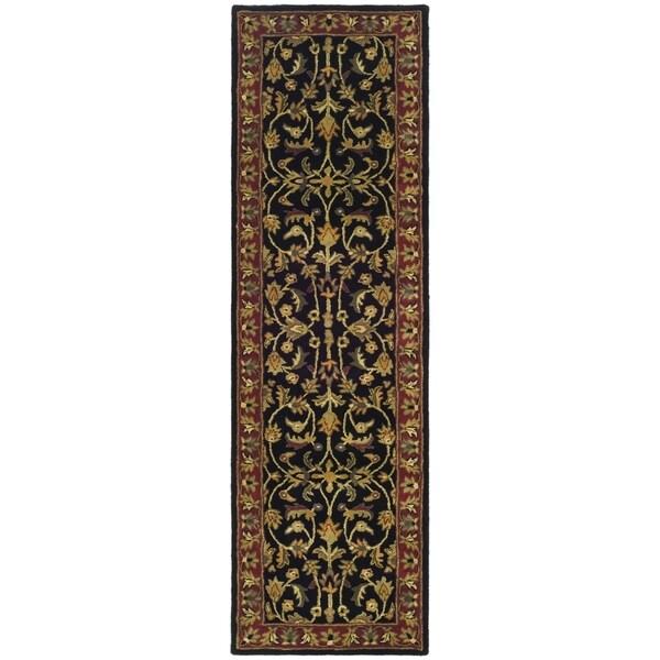 Safavieh Handmade Heritage Timeless Traditional Black/ Red Wool Runner (2'3 x 12')