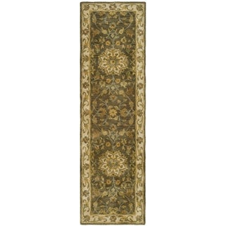 Safavieh Handmade Heritage Timeless Traditional Taupe/ Ivory Wool Runner (2'3 x 12')