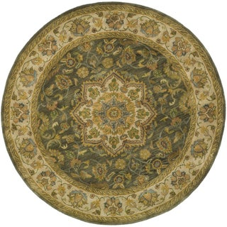 Safavieh Handmade Heritage Timeless Traditional Taupe/ Ivory Wool Rug (6' Round)