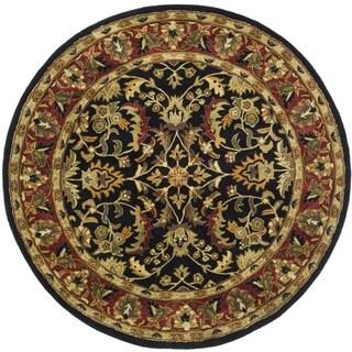 Safavieh Handmade Heritage Timeless Traditional Black/ Red Wool Rug (8' Round)