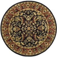 Safavieh Handmade Heritage Timeless Traditional Black/ Red Wool Rug (8' Round)
