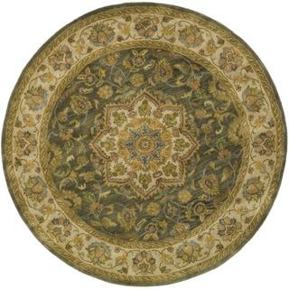 Safavieh Handmade Heritage Timeless Traditional Taupe/ Ivory Wool Rug (8' Round)