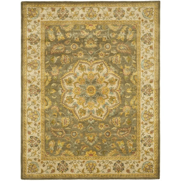 Safavieh Handmade Heritage Timeless Traditional Taupe/ Ivory Wool Rug (7'6 x 9'6)