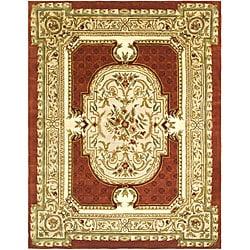 Safavieh Handmade Classic Burgundy/ Beige Wool Rug (7'6 x 9'6)