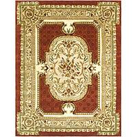 Safavieh Handmade Classic Burgundy/ Beige Wool Rug - 7'6 x 9'6