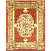 "Safavieh Handmade Classic Burgundy/ Beige Wool Rug - 7'-6"" X 9'-6"""