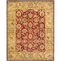 "Safavieh Handmade Classic Red/ Gold Wool Rug - 7'-6"" x 9'-6"""