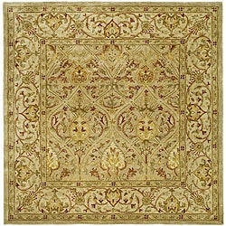 Safavieh Handmade Mahal Light Brown/ Beige N.Z. Wool Rug (6' Square)
