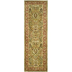 Safavieh Handmade Mahal Green/ Rust New Zealand Wool Runner (2' 6 x 10')