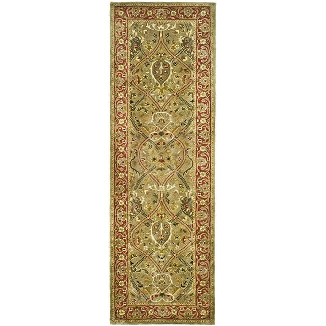 Safavieh Handmade Mahal Green/ Rust New Zealand Wool Runner (2'6 x 8')