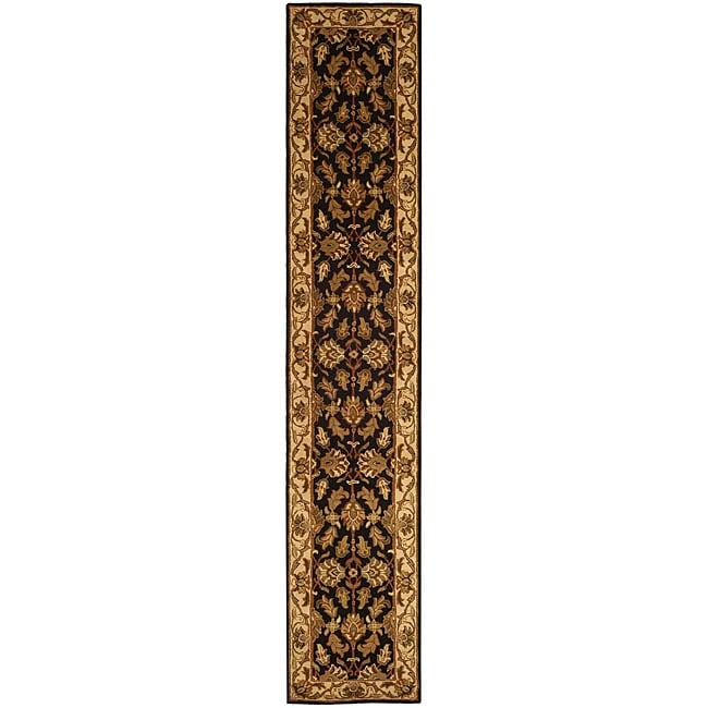 Safavieh Handmade Heritage Traditional Kashan Black/ Beige Wool Runner (2'3 x 14')