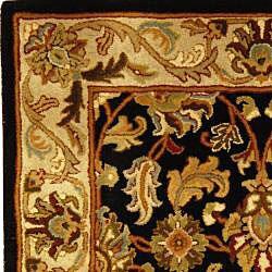 Safavieh Handmade Heritage Traditional Kashan Black/ Beige Wool Runner (2'3 x 14') - Thumbnail 1