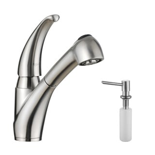 KRAUS Single-Handle Solid Stainless Steel Kitchen Faucet with Pull Out Dual-Function Sprayer with Soap Dispenser