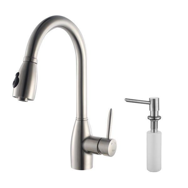 Kraus Kitchen Combo Set Stainless Steel Pull-Out Gooseneck Faucet