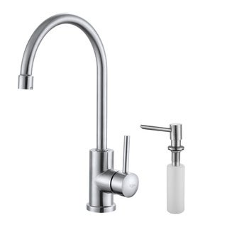 KRAUS Single-Handle Solid Stainless Steel Kitchen Bar Faucet with Soap Dispenser in Stainless Steel