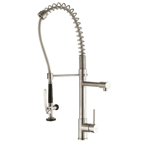 KRAUS Commercial-Style Single-Handle Kitchen Faucet with Pull Down Pre-Rinse Sprayer and Soap Dispenser in Chrome