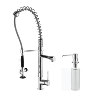 KRAUS Commercial-Style Single-Handle Kitchen Faucet with Pull Down Pre-Rinse Sprayer and Soap Dispenser