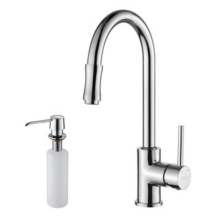 KRAUS Single-Handle Kitchen Faucet with Pull Down Dual-Function Sprayer and Soap Dispenser in Chrome