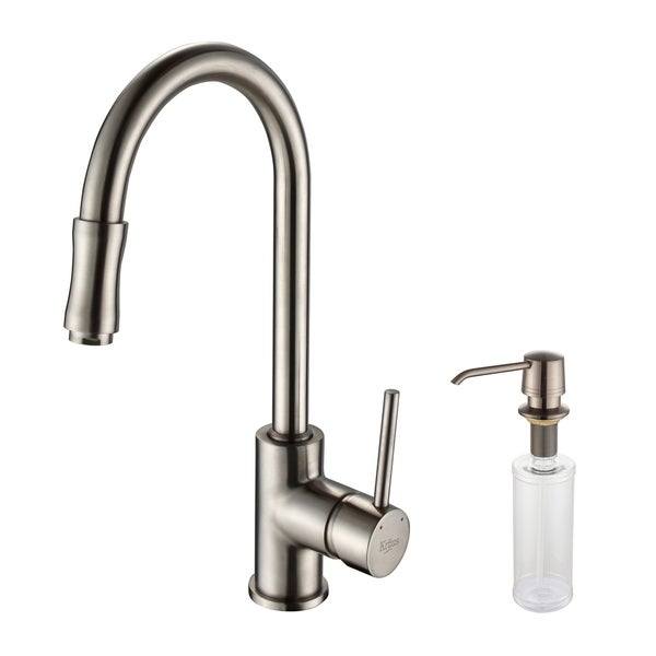 KRAUS Single-Handle Kitchen Faucet with Pull Down Dual-Function Sprayer and Soap Dispenser in Satin Nickel