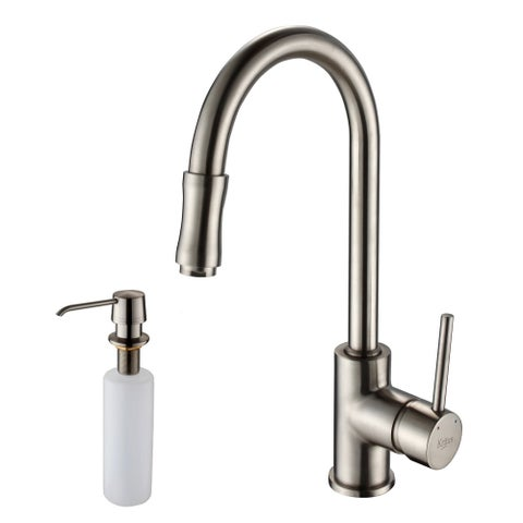 KRAUS Single-Handle Kitchen Faucet with Pull Down Dual-Function Sprayer and Soap Dispenser in Satin Nickel - satin nickel