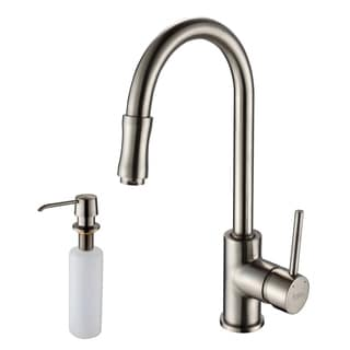 KRAUS Single Handle Kitchen Faucet With Pull Down Dual Function Sprayer And  Soap Dispenser
