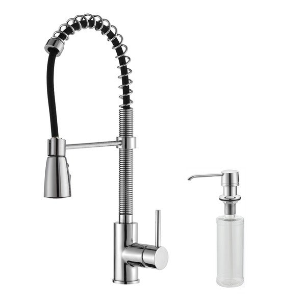KRAUS Commercial-Style Single-Handle Kitchen Faucet with Pull Down Three-Function Sprayer and Soap Dispenser in Stainless Steel