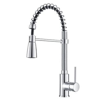 Kraus Chrome Pullout Sprayer Brass Kitchen Faucet and Dispenser
