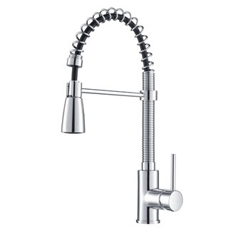 KRAUS Commercial-Style Single-Handle Kitchen Faucet with Pull Down Three-Function Sprayer and Soap Dispenser
